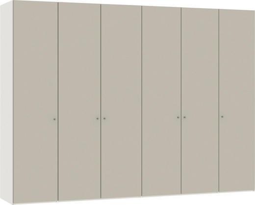 FALTTÜRENSCHRANK 4-türig Sandfarben, Weiß - Sandfarben/Silberfarben, Design, Glas/Holzwerkstoff (303,1/220/58,5cm) - Jutzler
