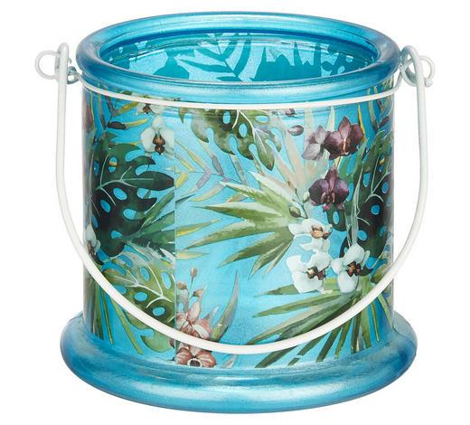 TEELICHTHALTER - Blau, Design, Glas/Metall (13/12,5cm) - Ambia Home