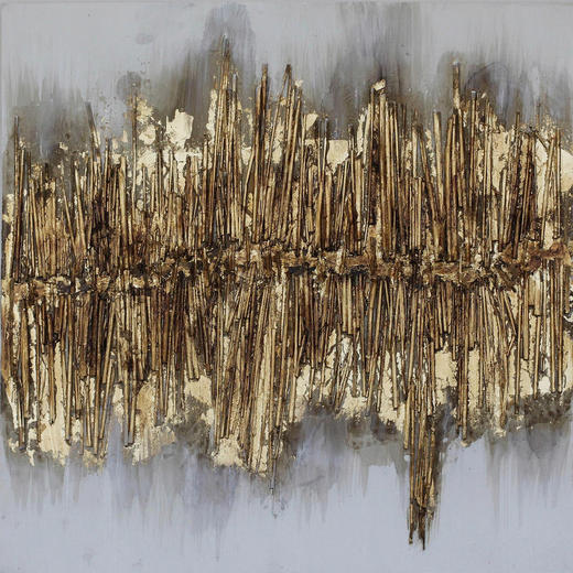 Strukturen ÖLGEMÄLDE - Goldfarben, Design, Holz/Textil (60/60cm) - Monee