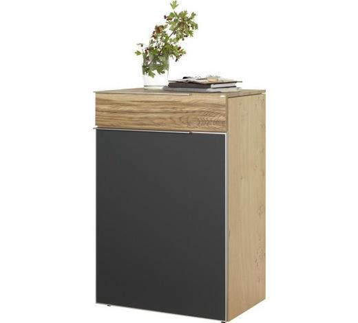 SCHUHSCHRANK 64/98/42,5 cm - Eichefarben/Silberfarben, Design, Glas/Holz (64/98/42,5cm) - Voglauer