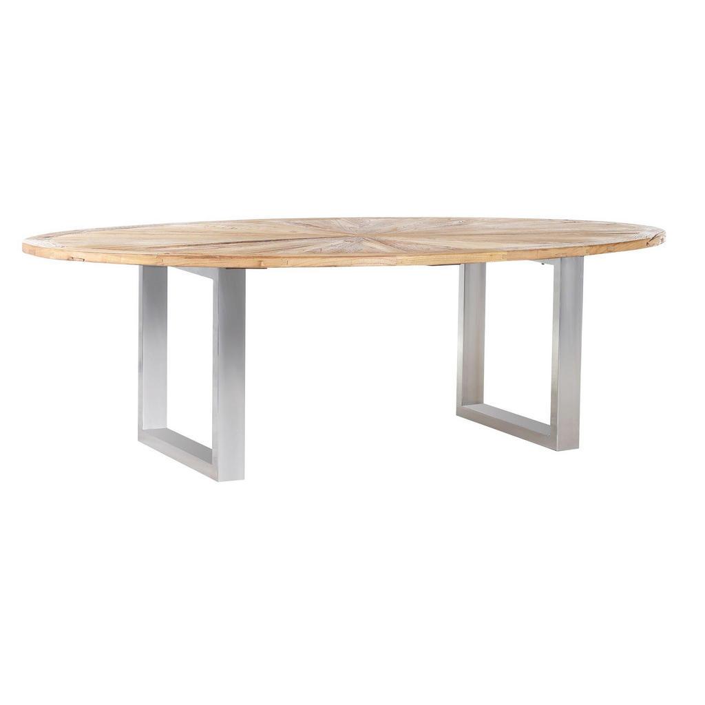 Ovaler Esstisch aus Ulme und Edelstahl