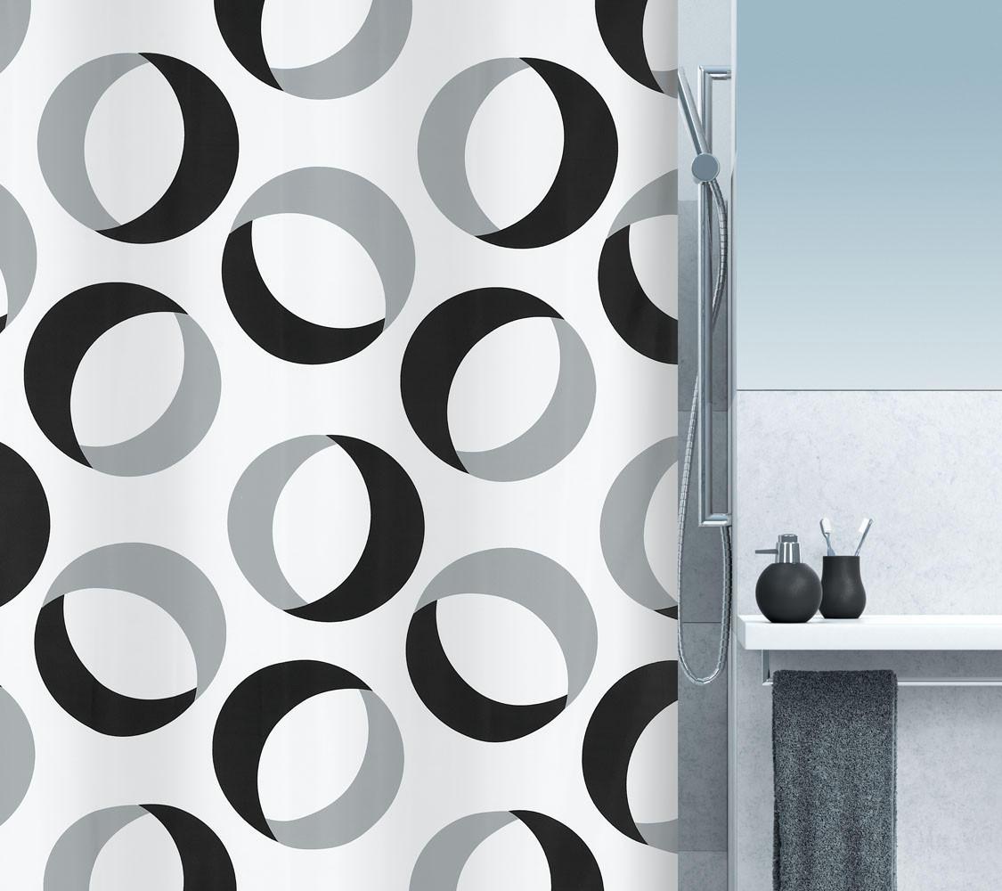 DUSCHVORHANG  Schwarz, Weiß 180/200 cm - Schwarz/Weiß, Basics, Textil (180/200cm) - SPIRELLA