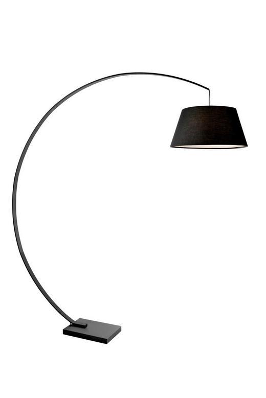 BOGENLEUCHTE - Schwarz, Design, Textil/Metall (190cm)