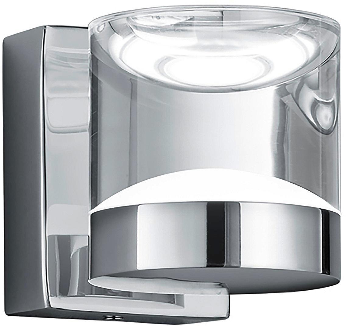 BADEZIMMER-WANDLEUCHTE - Chromfarben/Klar, Design, Kunststoff/Metall (10,0/8,5/12,5cm)