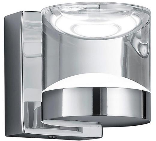 BADEZIMMER-WANDLEUCHTE - Klar/Chromfarben, Design, Kunststoff/Metall (10,0/8,5/12,5cm)