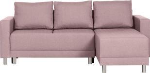 WOHNLANDSCHAFT in Textil Rosa  - Silberfarben/Schwarz, Design, Kunststoff/Textil (215/145cm) - Carryhome