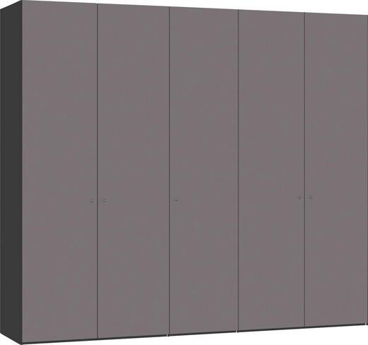 DREHTÜRENSCHRANK 5-türig Dunkelgrau, Schwarz - Dunkelgrau/Silberfarben, Design, Glas/Holzwerkstoff (252,8/220/58,5cm) - Jutzler