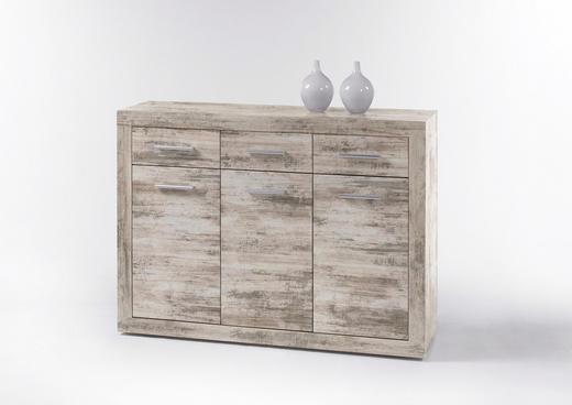 KOMMODE Eichefarben - Eichefarben/Silberfarben, KONVENTIONELL, Holzwerkstoff/Kunststoff (117/88/37cm)