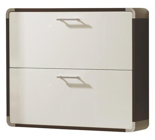 HÄNGESCHUHSCHRANK Hochglanz Braun, Weiß  - Silberfarben/Braun, Design, Kunststoff (97/81.6/23cm) - Moderano
