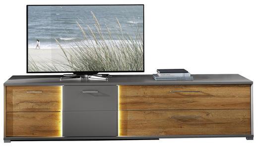 TV-ELEMENT foliert Graphitfarben, Mooreichefarben - Mooreichefarben/Silberfarben, KONVENTIONELL, Metall (224/52/55cm)