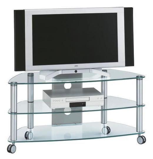TV-RACK Glas Alufarben - Alufarben, Design, Glas/Kunststoff (109,5/53/47cm)