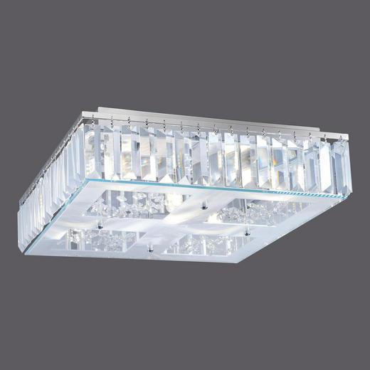 LED-DECKENLEUCHTE - Chromfarben, LIFESTYLE, Glas/Metall (40/40/12cm)