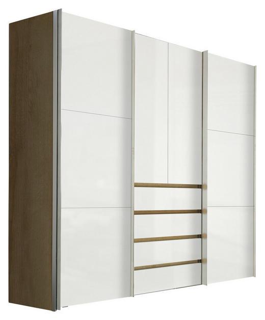 KLEIDERSCHRANK 4-türig Eichefarben, Weiß - Eichefarben/Alufarben, Design, Holzwerkstoff/Metall (250/216/68cm) - Hom`in