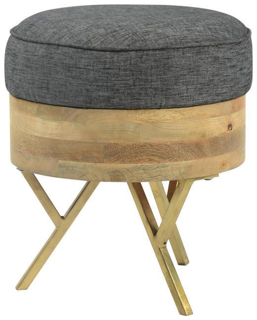 HOCKER Webstoff Mangoholz massiv Goldfarben, Grau, Naturfarben - Goldfarben/Naturfarben, MODERN, Holz/Textil (35/40cm) - Carryhome