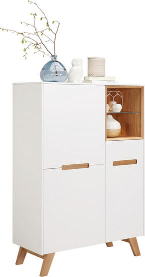 HIGHBOARD - vit/ekfärgad, Design, trä/glas (95/136,5/41cm) - Hom`in