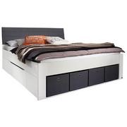 BETT 140 cm   x 200 cm   in Holzwerkstoff Grau, Weiß - Weiß/Grau, MODERN, Holzwerkstoff/Textil (140/200cm) - Carryhome