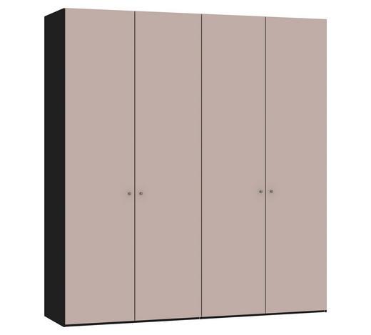 DREHTÜRENSCHRANK in Rosa, Schwarz - Silberfarben/Schwarz, Design, Glas/Holzwerkstoff (202,5/220/58,5cm) - Jutzler