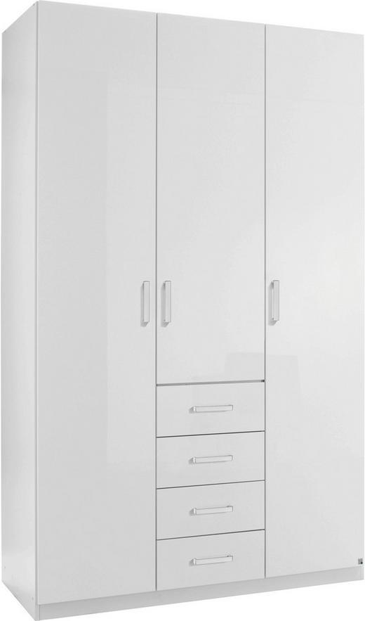 KLEIDERSCHRANK 3  -türig Weiß - Alufarben/Weiß, Design, Holzwerkstoff/Metall (136/222/60cm) - HOM`IN