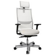 DREHSTUHL Alufarben, Weiß - Alufarben/Weiß, Design, Leder/Metall (48/105-115/55cm)