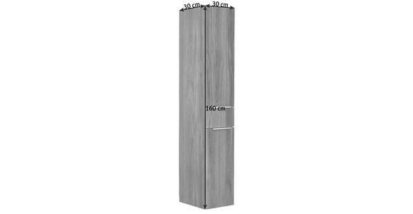 HOCHSCHRANK 30/160/30 cm - Chromfarben/Eichefarben, Design, Glas/Holzwerkstoff (30/160/30cm) - Dieter Knoll