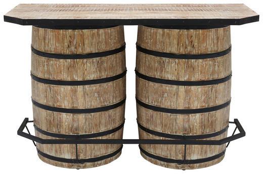 BAR Mangoholz massiv Naturfarben, Schwarz - Schwarz/Naturfarben, Trend, Holz/Metall (160/102/75cm)