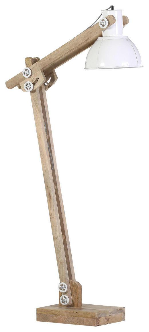 Stehleuchte, 125-160 cm - Weiß/Naturfarben, Trend, Holz/Metall (28/125-160/60-82cm) - Carryhome