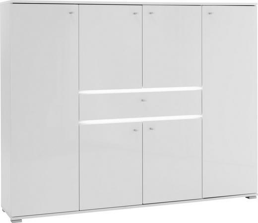 SCHUHSCHRANK Weiß - Alufarben/Weiß, Design, Holzwerkstoff/Metall (160/127/34cm) - Voleo