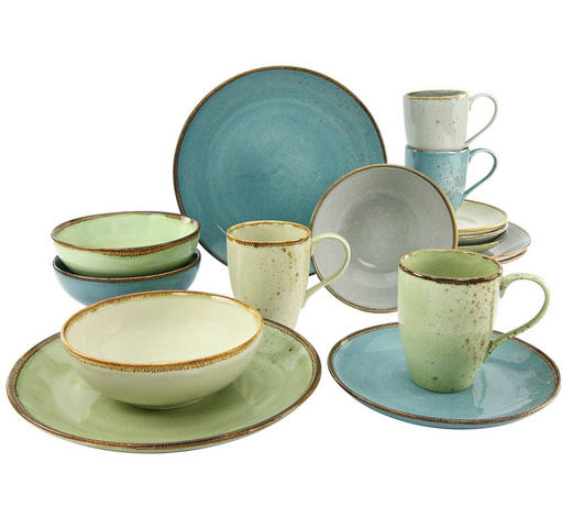 KOMBISERVICE NATURE COLLECTION 16-teilig  - Sandfarben/Blau, Trend, Keramik - Creatable