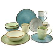 KOMBISERVICE 16-teilig - Sandfarben/Blau, Trend, Keramik - CREATABLE