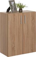 KOMMODE in Eichefarben - Eichefarben/Alufarben, Design, Holzwerkstoff/Kunststoff (60/76,8/33,6cm) - CARRYHOME