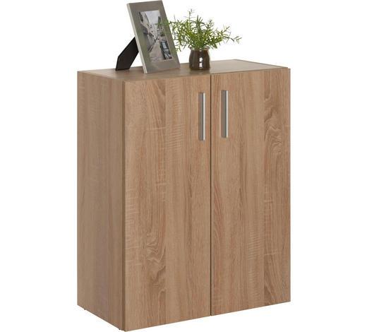 KOMMODE 60/76,8/33,6 cm - Eichefarben/Alufarben, Design, Holzwerkstoff/Kunststoff (60/76,8/33,6cm) - Carryhome