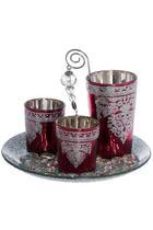 Teelichthalter Set mit Deko 4-teilig - Pink/Silberfarben, Kunststoff/Metall (25/12cm)