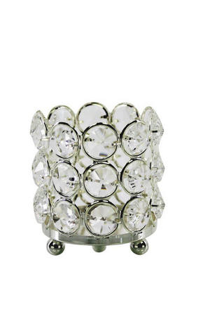 VÄRMELJUSHÅLLARE - silver, Basics, metall/glas (7/7cm) - Ambia Home