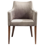 ARMLEHNSTUHL Samt Grau - Walnussfarben/Grau, Trend, Holz/Textil (60/87/70cm) - Kare-Design