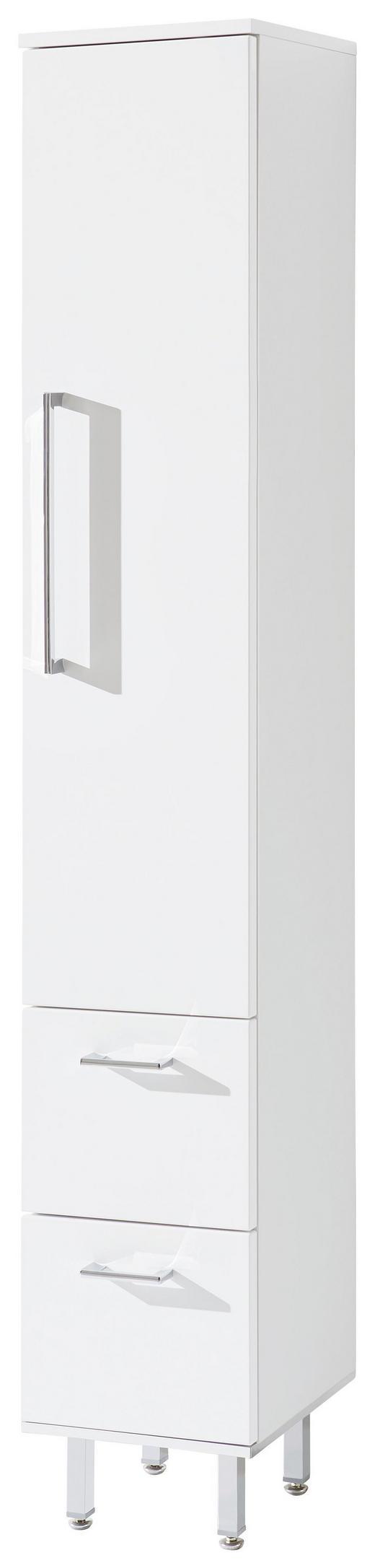 HOCHSCHRANK 30/175/30 cm - Chromfarben/Weiß, Design, Glas/Holzwerkstoff (30/175/30cm) - Novel