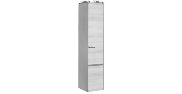 HOCHSCHRANK 37/168/33 cm  - Dunkelgrau/Eichefarben, Design, Glas/Holzwerkstoff (37/168/33cm) - Dieter Knoll