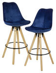BARHOCKER-SET in Blau  - Blau/Eichefarben, MODERN, Holz/Textil (49/113/49cm) - Carryhome