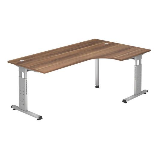 ECKSCHREIBTISCH in Metall, Holzwerkstoff  - Silberfarben/Zwetschgefarben, KONVENTIONELL, Holzwerkstoff/Metall (120/200cm)