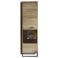 VITRÍNA, barvy dubu, šedá - šedá/barvy dubu, Moderní, kov/kompozitní dřevo (49/174/38cm) - Stylife