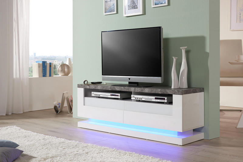 MEDIABÄNK - vit/grå, Design, glas/träbaserade material (140/50/40cm) - Carryhome
