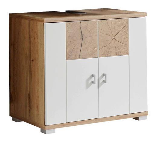WASCHBECKENUNTERSCHRANK Weiß, Eichefarben  - Eichefarben/Silberfarben, Design, Holzwerkstoff/Kunststoff (70/62/40cm) - Xora