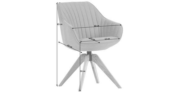 STUHL in Textil Anthrazit - Eichefarben/Anthrazit, Design, Holz/Textil (60/83/65cm) - Hom`in