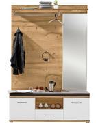 PREDSOBA bela, hrast - bela/hrast, Design, steklo/leseni material (131/199/39cm) - Xora