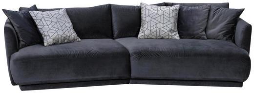 MEGASOFA Mikrofaser Anthrazit - Anthrazit/Silberfarben, Design, Kunststoff/Textil (307/88/154cm) - Hom`in