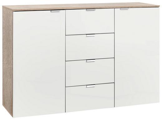 SIDEBOARD lackiert Eichefarben, Weiß - Eichefarben/Alufarben, Design, Holzwerkstoff/Metall (140/80/42cm) - Carryhome