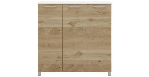 SCHUHSCHRANK 126/126/37 cm  - Chromfarben/Eichefarben, Design, Holz/Holzwerkstoff (126/126/37cm) - Dieter Knoll