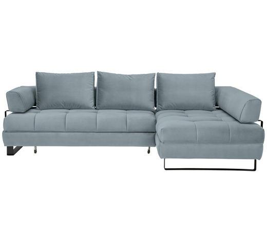 WOHNLANDSCHAFT in Textil Hellblau  - Schwarz/Hellblau, Design, Textil/Metall (272/173cm) - Stylife