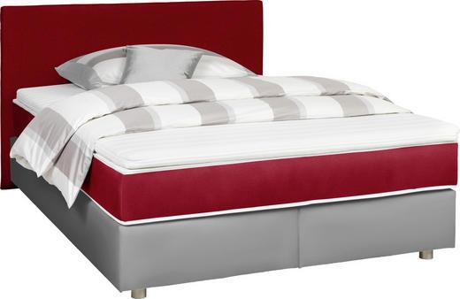 BOXSPRINGBETT  in Grau, Rot - Silberfarben/Rot, Design, Holz/Textil (140/200cm) - Carryhome