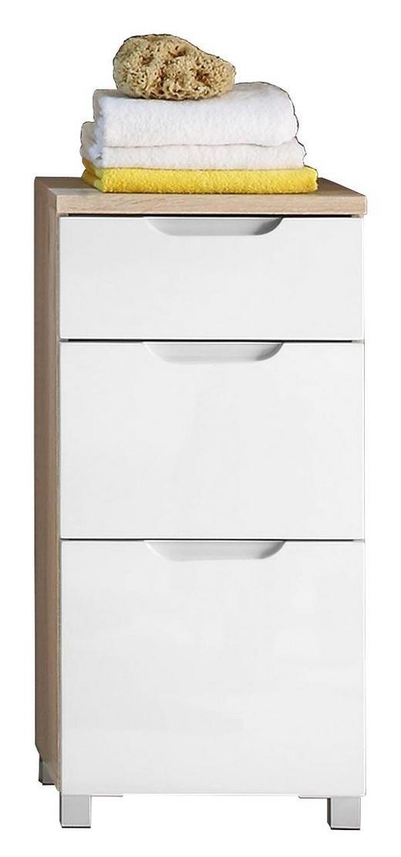 KOMMODE Eichefarben, Weiß - Eichefarben/Silberfarben, Design (40/82/32cm) - Xora