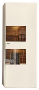 VITRINE Weiß - Chromfarben/Schwarz, Design, Glas/Holzwerkstoff (76/198/41cm) - MODERANO